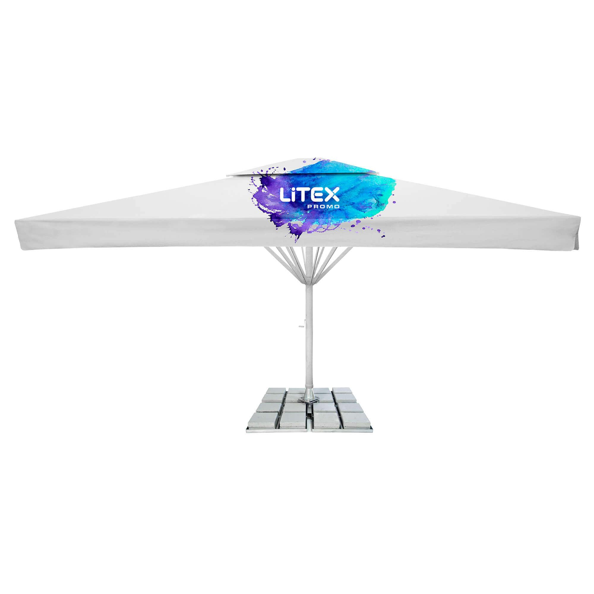 6. Giant Parasol Quadratisch 7m - mit Spoiler und Schutzdach