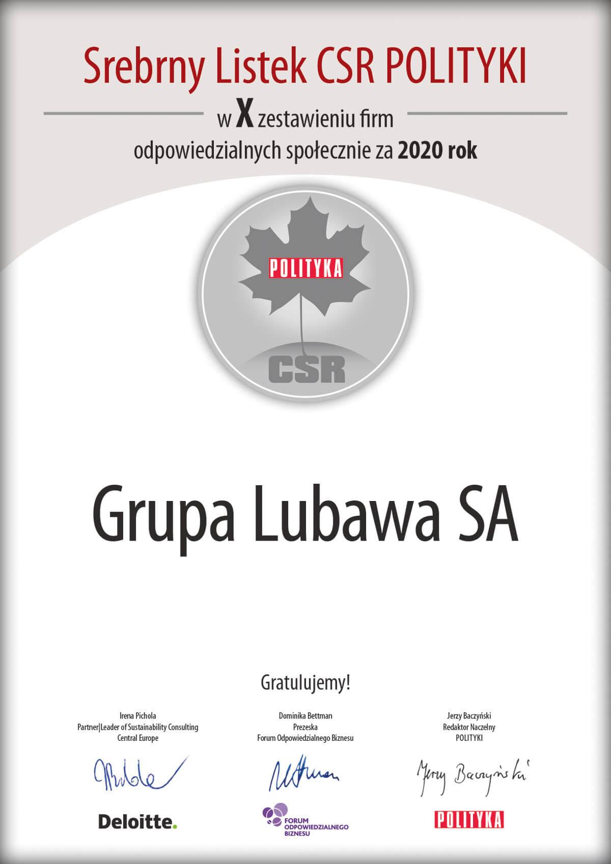 Srebrny Listek CSR dla Grupy Lubawa